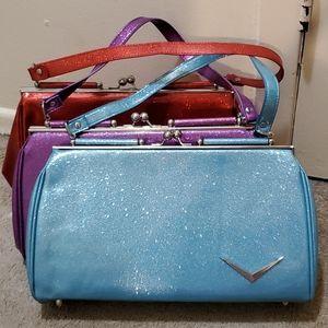 Lux De Ville Blue sparkle glitter purse bag